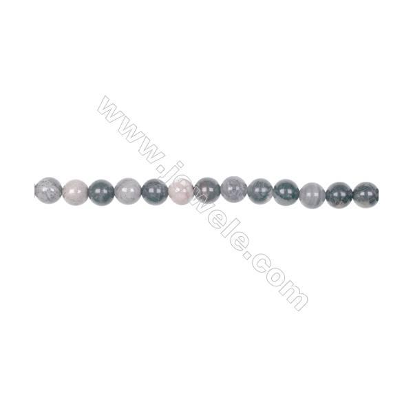 "6mm black silver leaf jasper loose beads  hole 1mm  64 beads/strand  15~16"""