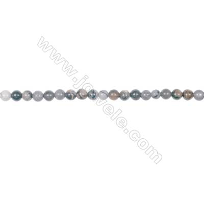 "4mm black silver leaf jasper loose beads  hole 0.8mm  95 beads/strand  15~16"""