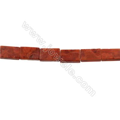 Sponge Coral Beads Strand  Rectangle 6x13x22mm  Hole 1mm  Thick 6mm  about 18 beads/strand  15-16""