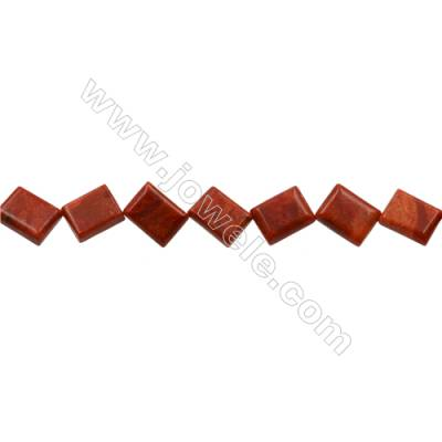 Sponge Coral Beads Strand  Square  6x12x16mm  Hole 0.8mm  Thick 6mm  about 22 beads/strand  15-16""