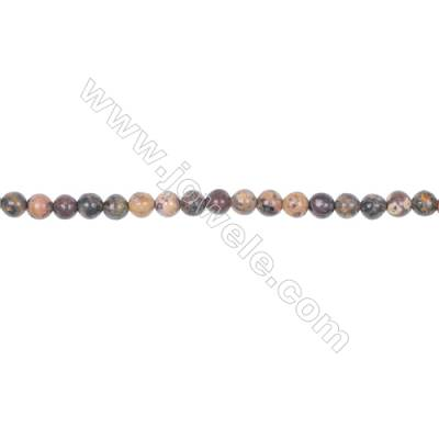 4mm leopard skin jasper stone loose beads for jewelry making diy  hole 0.8mm  94 beads/strand  15~16''
