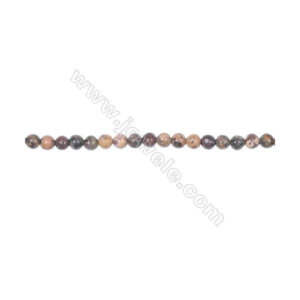 4mm leopard skin jasper stone loose beads for jewelry making diy  hole 0.8mm  94 beads/strand  15~16''
