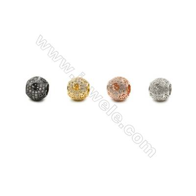 9mm  Gold and Rhodium Plated Brass Beads, Round, CZ Micropave, Hole 4.5mm, 20pcs/pack