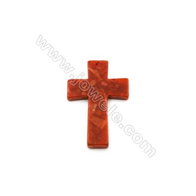 Sponge Coral Beads Strand  Cross  40x60mm  Hole 1mm  sold individually