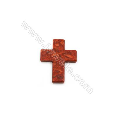 Sponge Coral Pendant  Cross  69x88mm  Hole 1mm  sold individually