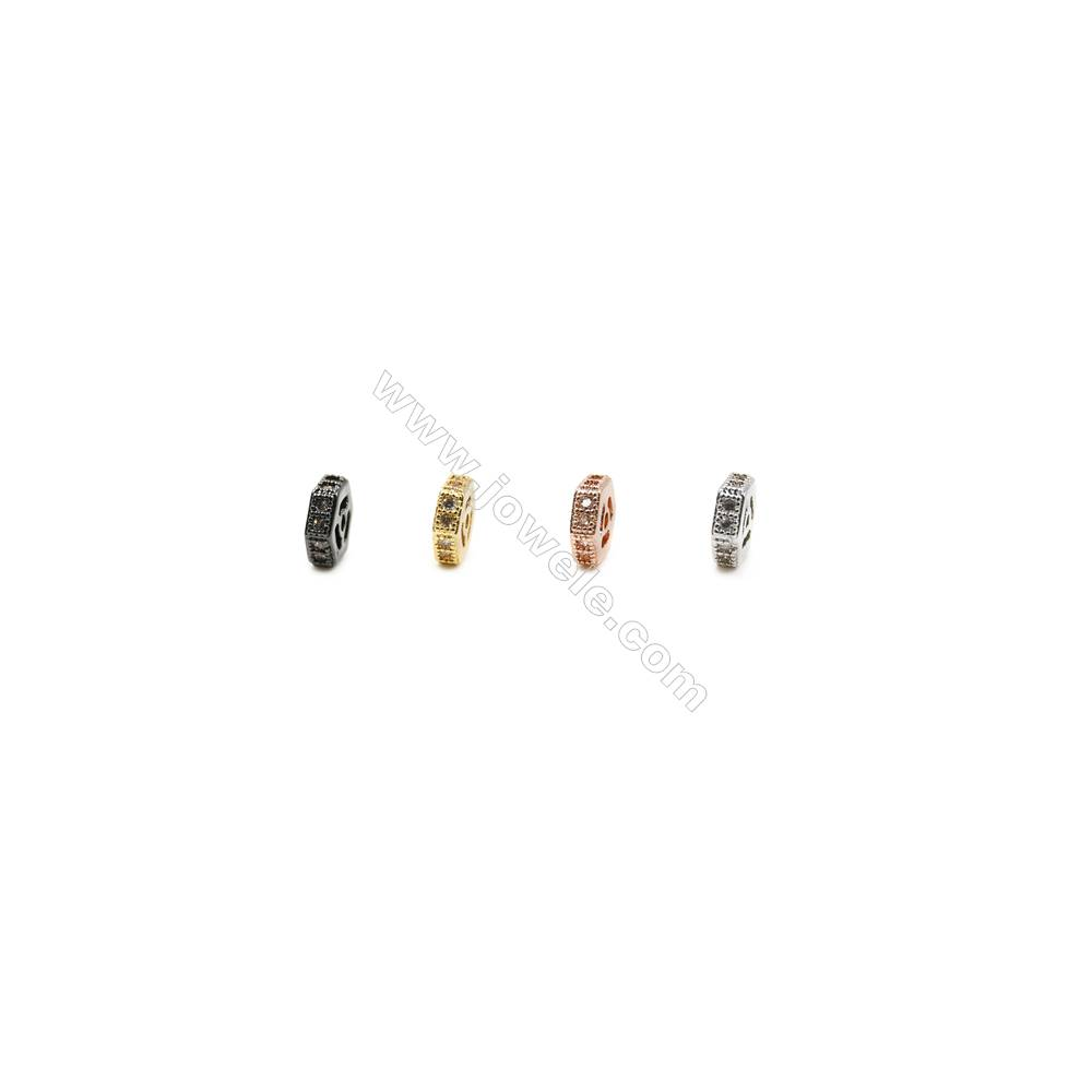 5x5mm  Brass Spacer Beads  (Gold Rhodium Black Rose Gold) Plated   CZ Micropave  Thick 1.8mm  Hole 0.8mm  50pcs/pack