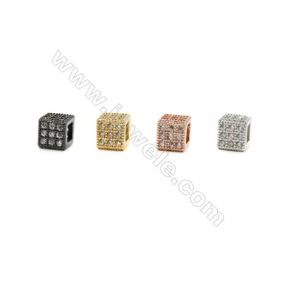 7x7x7mm  Cube Brass Beads, (Gold, Rhodium, Black, Rose Gold) Plated, CZ Micropave, Hole 4x4mm, 20pcs/pack