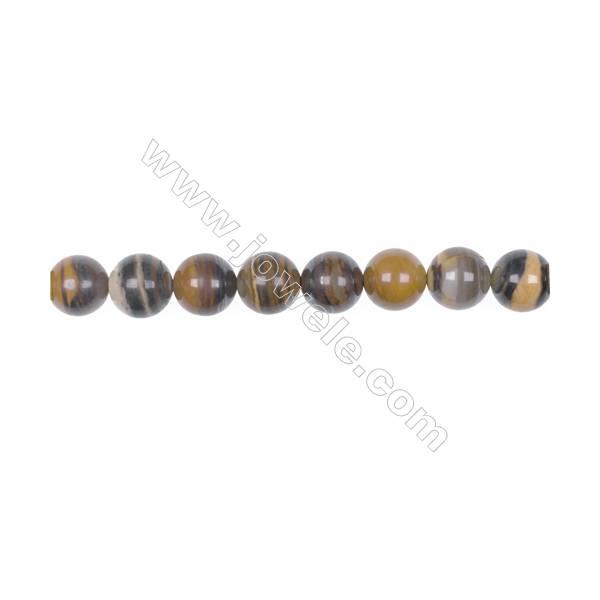 "Natural Iron zebra jasper beads strand  Diameter 10mm  Hole 1mm  39 beads/strand 15~16"""