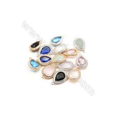 14x18mm  Faceted Glass Connector, Teardrop, Gold and Silver Plated Brass, Hole 1mm, 20pcs/pack