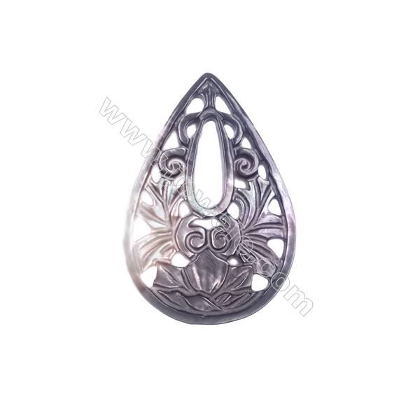 Classic hollow shell water drop pattern grey mother-of-pearl, 26x38mm, x 5pcs/pack