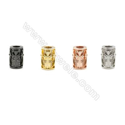 9x13mm  Column Brass Beads, (Gold, Rhodium, Black, Rose Gold) Plated, CZ Micropave, Hole 5mm, 20pcs/pack