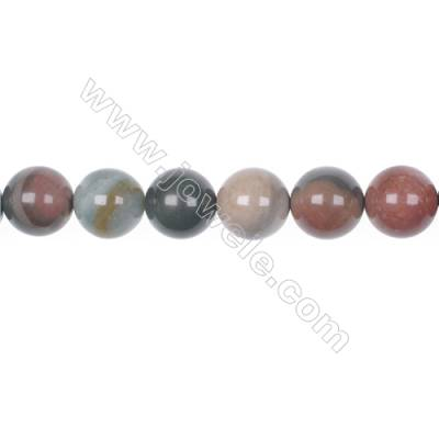 "12mm Polychrome jasper bead strand  hole 1mm  about 32 beads/strand  15~16"""