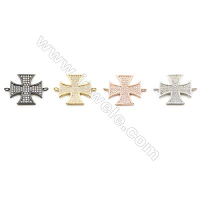 20x20mm  Cross Brass Connector, (Gold, White gold, Gun black, Rose Gold) Plated, CZ Micropave, Thick 1.8mm, 20pcs/pack