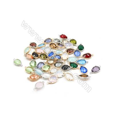 12x16mm  Faceted Glass Connector, Teardrop, Gold and Silver Plated Brass, Hole 1.5mm, 50pcs/pack