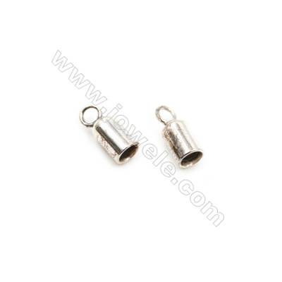 925 Sterling Silver Cord Ends  Size: 3.5x5.2mm  inner Diameter 2.5mm  Hole 1.5mm  60pcs/pack