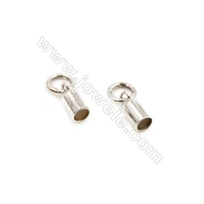 925 Sterling Silver Cord Ends  Size: 3x5.2mm  inner Diameter 2.5mm  Hole 3mm  30pcs/pack
