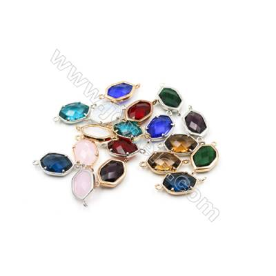 13x18mm   Faceted Glass Connector, Oval, Gold and Silver Plated Brass, Hole 1.5mm, 50pcs/pack