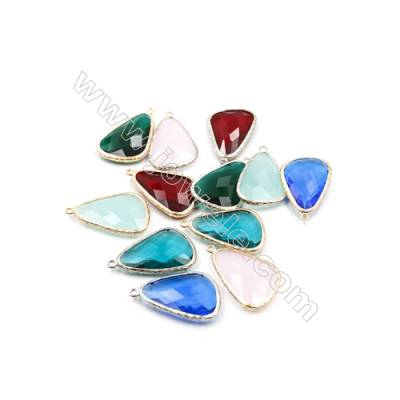 22x31mm  Faceted Glass Pendant  Teardrop  Gold and Silver Plated Brass  Hole 1.5mm  15pcs/pack