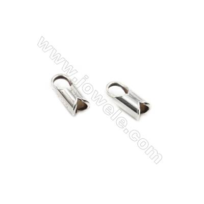 925 Sterling Silver Cord Ends  Size: 4x8mm  inner Diameter 2mm  Hole 2.5mm  40pcs/pack