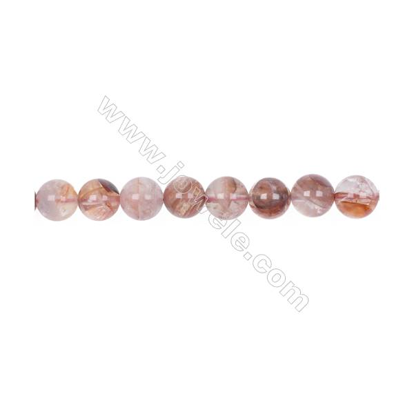 Wholesale 10mm pink gemstones blood rose quartz round loose beads for jewelry making  hole 1mm  38 beads/strand  15~16''