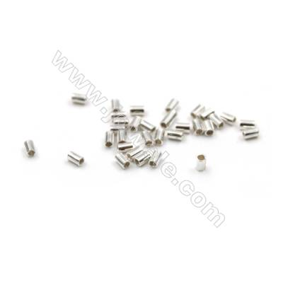 925 Sterling Silver Tube  Size: 1x2mm  Hole 0.8mm  300pcs/pack