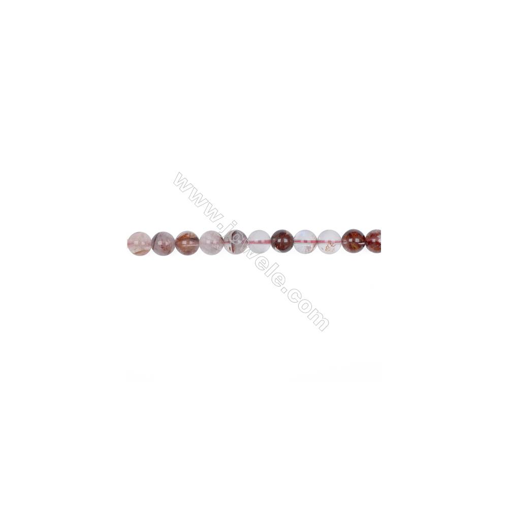 Wholesale 8mm pink gemstones blood rose quartz round loose beads for jewelry making  hole 1mm  49 beads/strand  15~16''