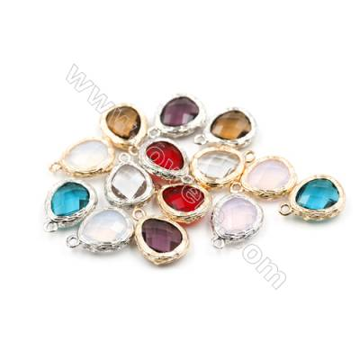 12x12mm  Faceted Glass Pendant  Teardrop  Gold and Silver Plated Brass  Hole 1.5mm  50pcs/pack