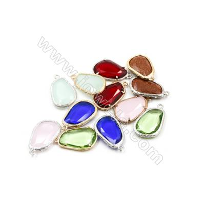 17x24mm  Faceted Glass Pendant  Teardrop  Gold and Silver Plated Brass  Hole 1.5mm  20pcs/pack