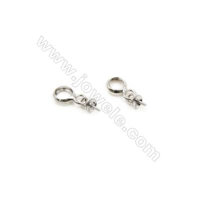 925 Sterling Silver Pinch Bail for Half Drilled Beads  Size 5x11mm  tray 3mm  Pin 0.6mm  50pcs/pack