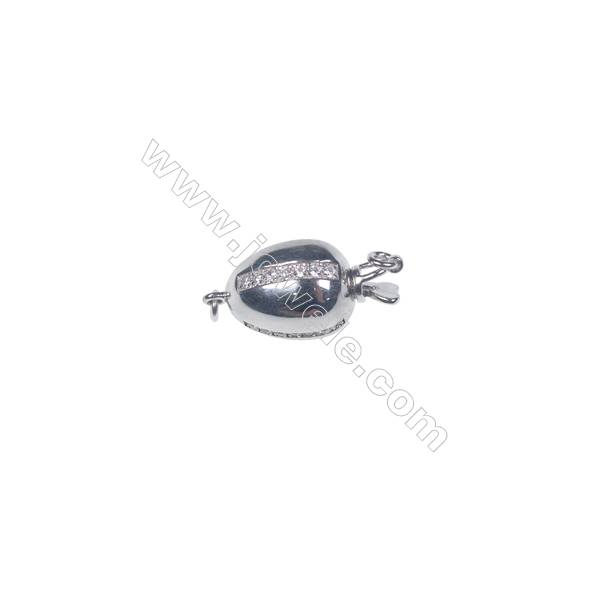 Wholesale 925 silver platinum plated zircon jewelry findings ball clasp-841138 11x20mm