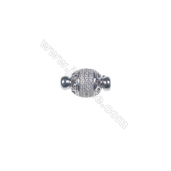 Wholesale 925 silver platinum plated zircon jewelry findings ball clasp-841129 11x20mm