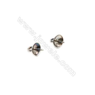 925 Sterling Silver Pinch Bail  Length 5.6mm  tray 4mm  Pin 0.6mm  Hole 0.6mm  140pcs/pack