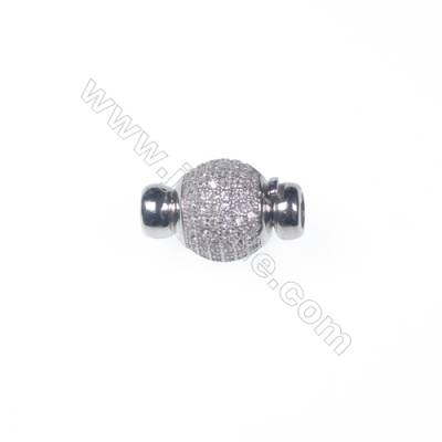 Wholesale 925 silver platinum plated zircon jewelry findings ball clasp-841132 11x16mm
