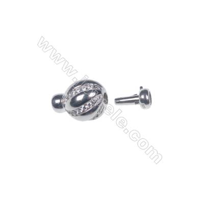Wholesale 925 silver platinum plated zircon jewelry findings ball clasp-841137 12x19mm