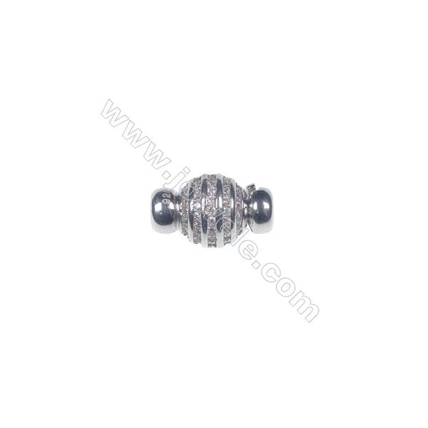 Wholesale 925 silver platinum plated zircon jewelry findings ball clasp-841130 9x15mm