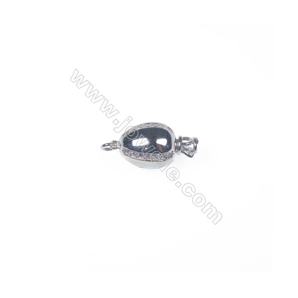 Wholesale 925 silver platinum plated zircon jewelry findings ball clasp-841157 10x19mm