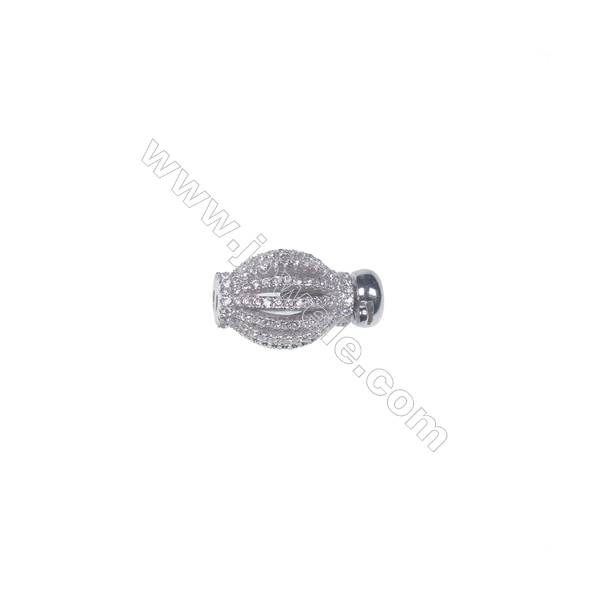 Wholesale 925 silver platinum plated zircon jewelry findings ball clasp-841142 10x18mm