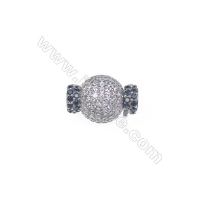 Wholesale 925 silver platinum plated zircon jewelry findings ball clasp-841131 11x17mm