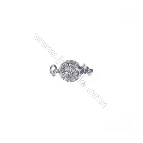 Wholesale 925 silver platinum plated zircon jewelry findings ball clasp-83991 8x11mm