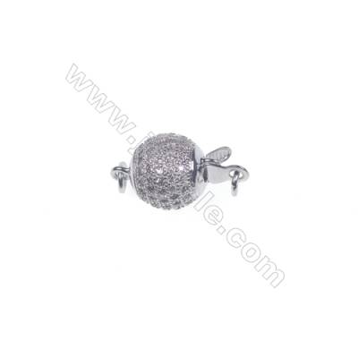 Wholesale 925 silver platinum plated zircon jewelry findings ball clasp-83992 10x15mm