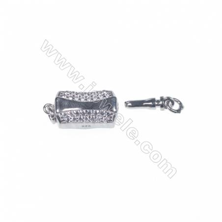 Wholesale 925 sterling silver platinum plated zircon jewelry findings clasp-841097 5x8x18mm
