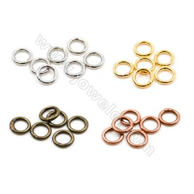 Brass Closed Ring  Plated  Diameter 6mm  Wire 0.9mm  2 000pcs/pack  (Gold  Rhodium  Silver  Copper  Dark Copper)
