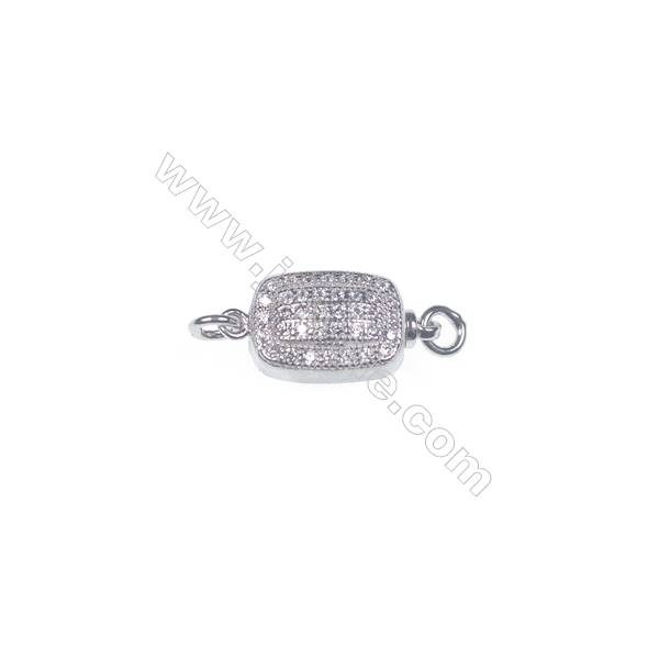 Jewelry findjngs DIY 925 sterling silver box tab clasp platinum plated making necklace bracelet Clasps-83780 x 1pc 6x8x16mm