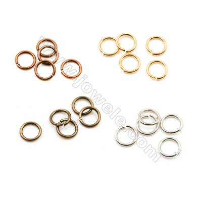 Brass Open Jump Ring  Plated  Diameter 6mm  Wire 0.8mm  5 000pcs/pack  (Gold  Rhodium  Silver  Copper  Dark Copper)