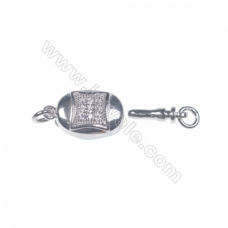 Jewelry findjngs DIY 925 sterling silver box tab clasp platinum plated making necklace bracelet Clasps-83842 x 1pc 5x8x16mm