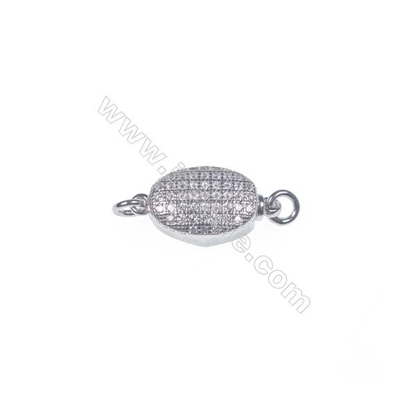 Wholesale 925 silver platinum plated zircon jewelry findings ball tab clasp-83873 5x8x16mm