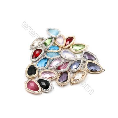 15x20mm  Faceted Glass Connector, Teardrop, Gold and Silver Plated Brass, Hole 1mm, 15pcs/pack