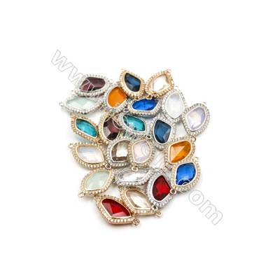13x18mm  Faceted Glass Connector, Teardrop, Gold and Silver Plated Brass, Hole 1mm, 15pcs/pack