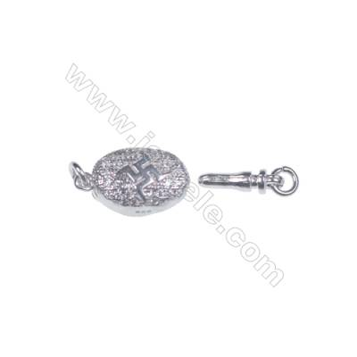 Jewelry findjngs DIY 925 sterling silver box tab clasp platinum plated making necklace bracelet Clasps-83865 x 1pc 5x8x16mm