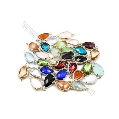 14x18mm  Faceted Glass Connector, Teardrop, Gold and Silver Plated Brass, Hole 1.5mm, 40pcs/pack
